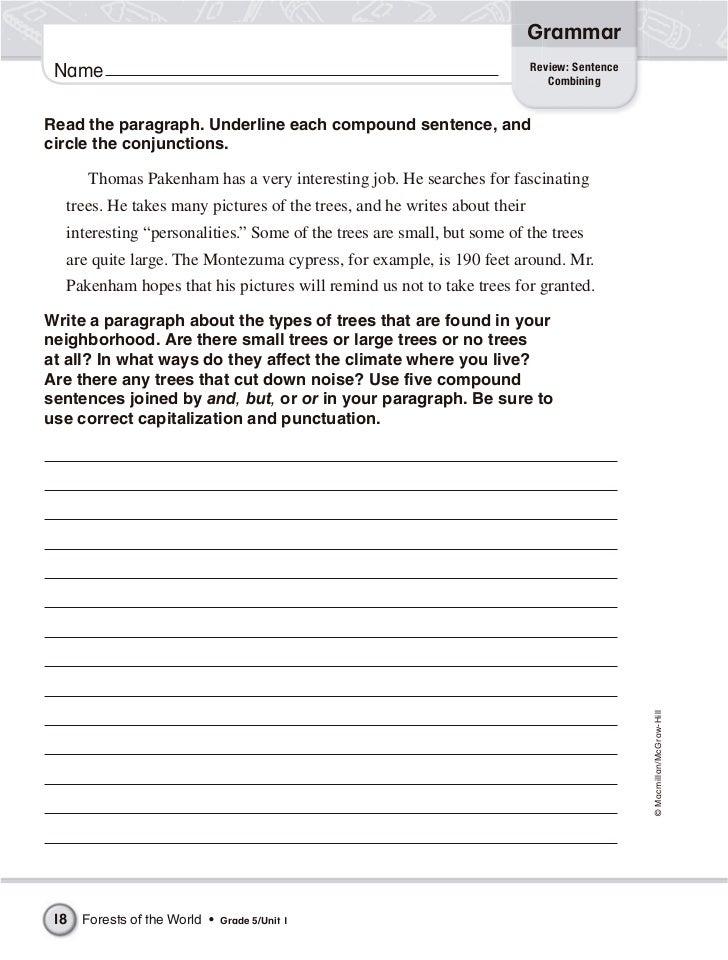 conjunction worksheets 4th grade