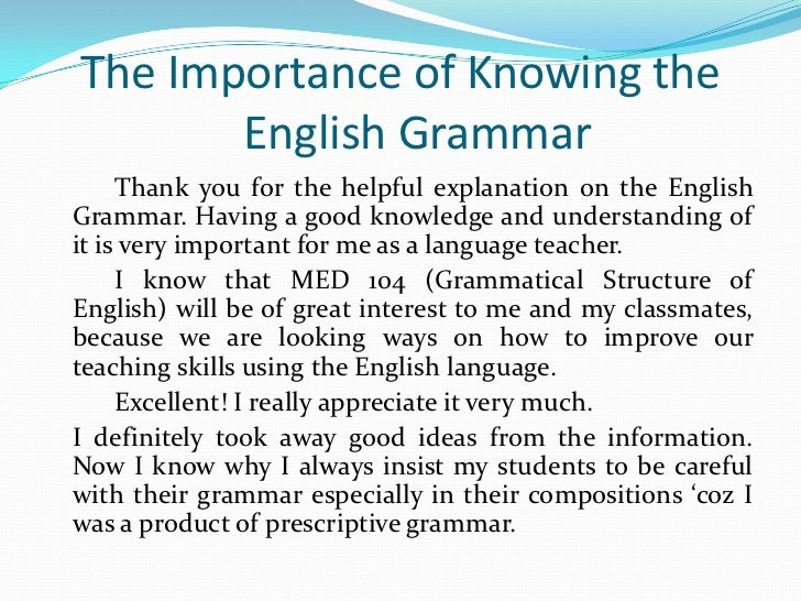 essay on importance of english grammar