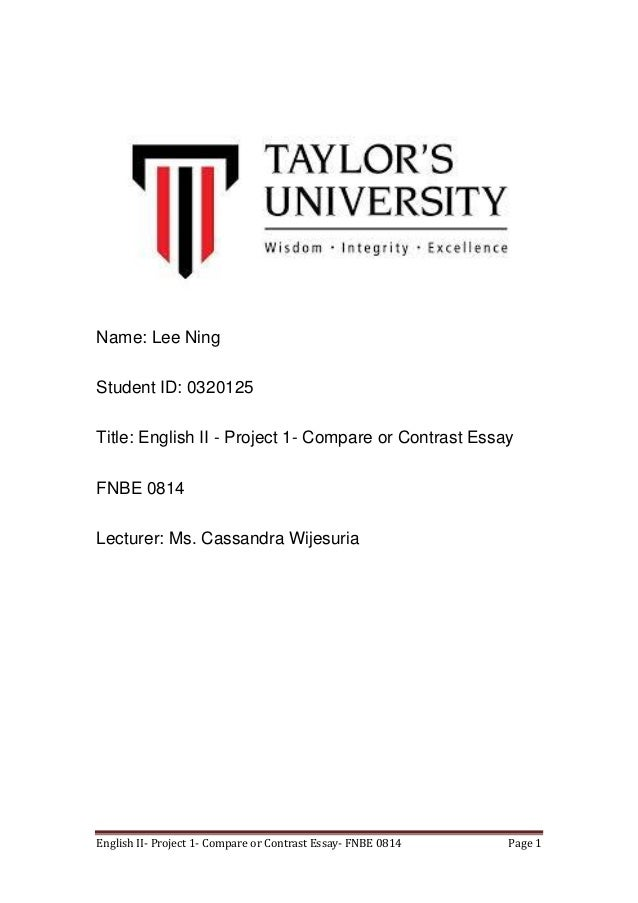 Titles For A Compare And Contrast Essay