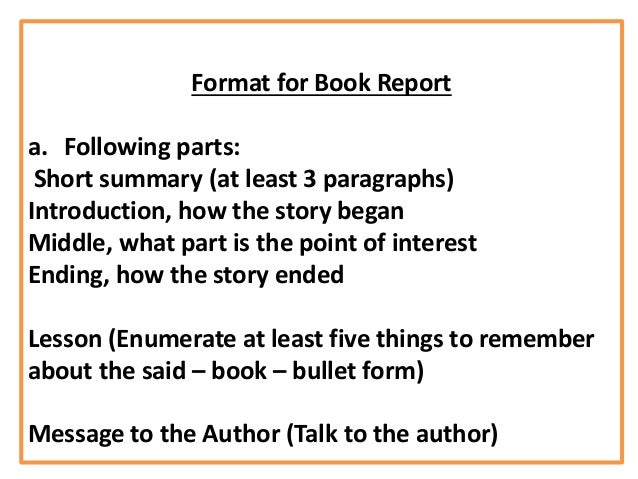 Parts of an oral book report