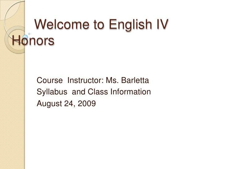 English Iv Intro