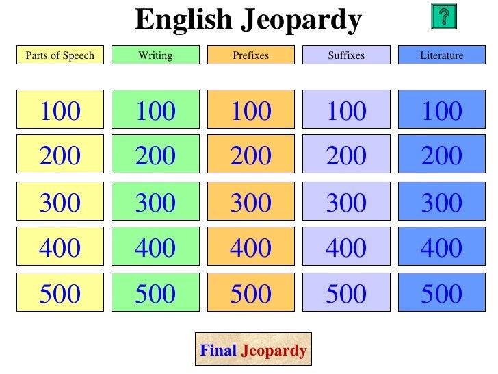 English JeopardyParts of Speech   Writing       Prefixes     Suffixes   Literature  100             100          100      ...