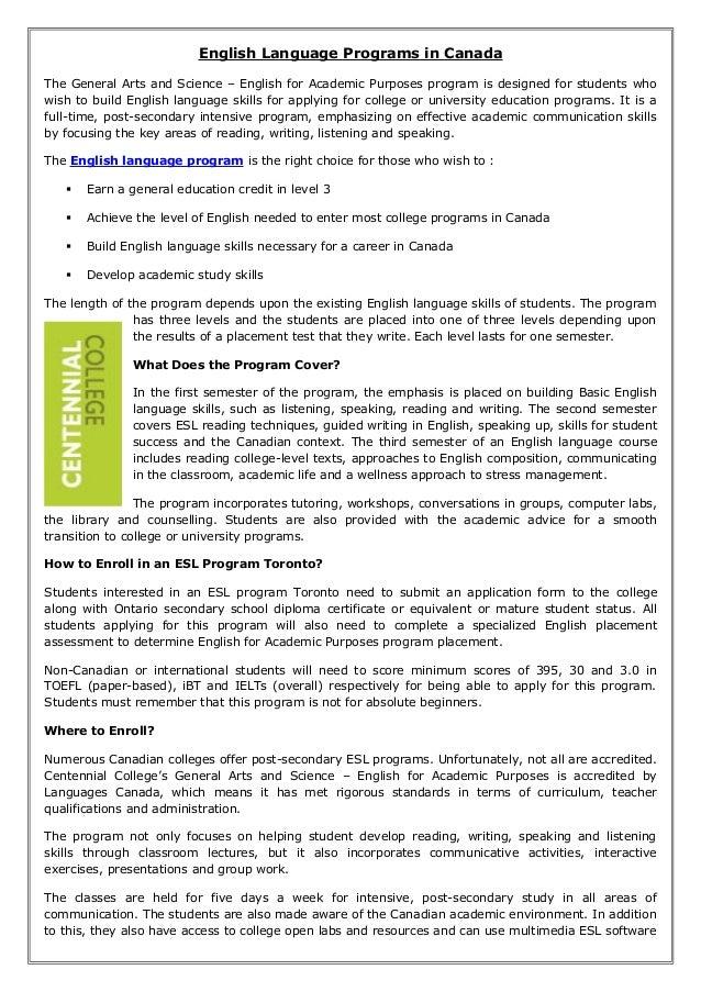 English language programs in canada