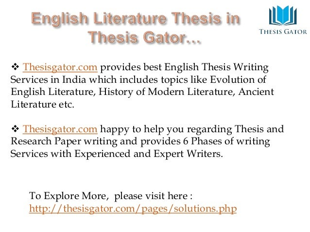 writing thesis proposal english literature What is the proposal note: you must have taken at least one course in the area in which you intend to write your project this means that, for a literature thesis.