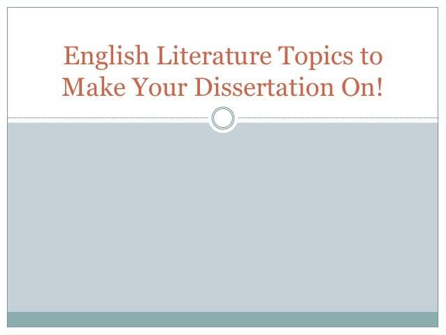 Writing An English Literature Dissertation