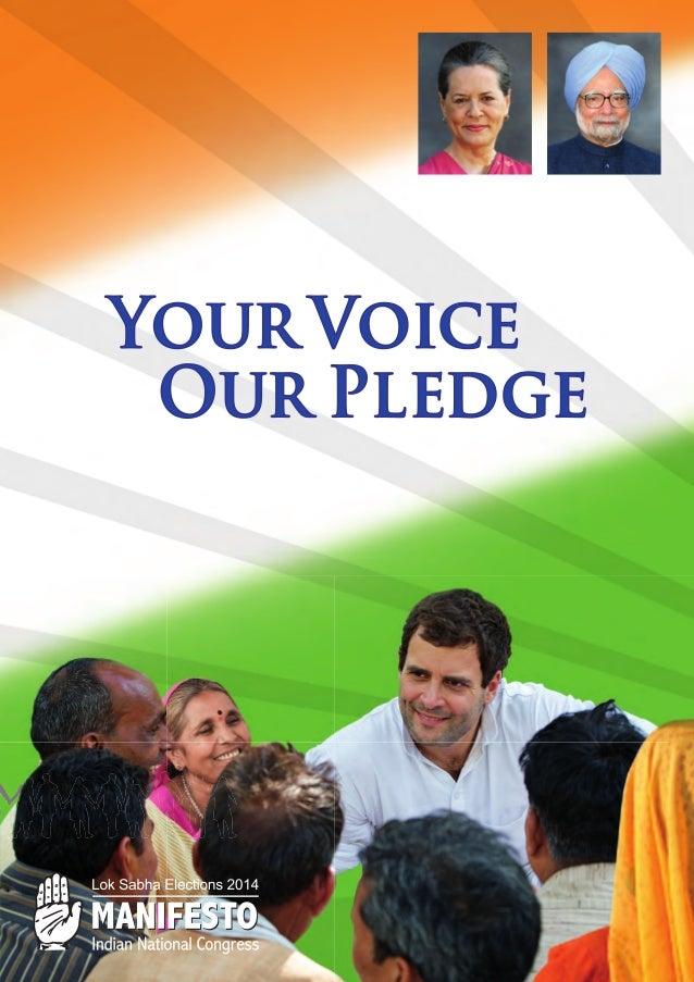 Congress manifesto 2014 Indian elections Sonia Gandhi Rahul Gandhi Manmohan Singhfor_web