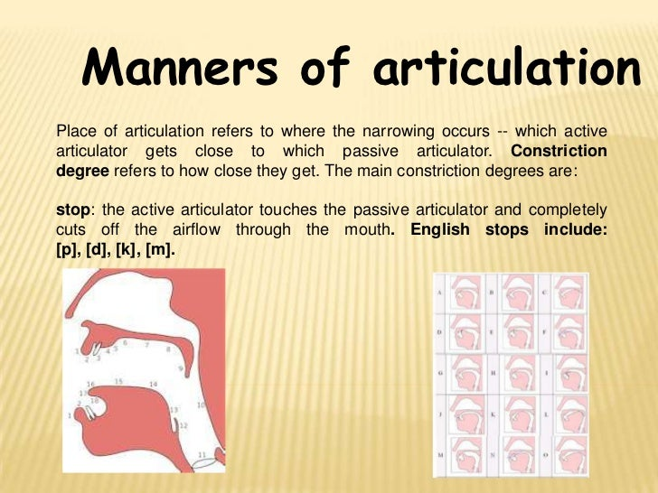 manner of articulation Full-text paper (pdf): places and manner of articulation of bangla consonants:  a epg based study.