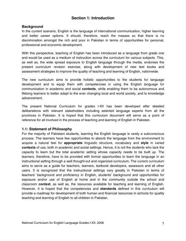 National Curriculum of English Grade I-XII