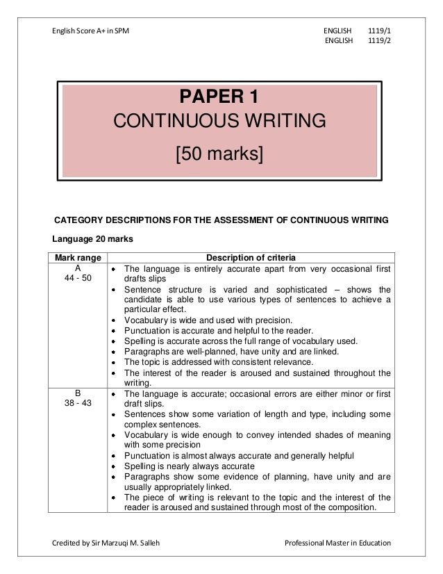 spm english 1119 sample essay for scholarship