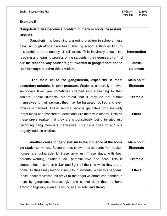 english report sample spm essay
