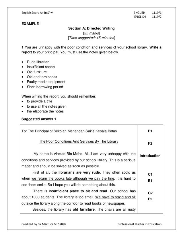 form 4 english essay report 4 write the body the body of your essay argues, explains or describes your topic each main idea that you wrote in your diagram or outline will become a separate section within the body of your essay each body paragraph will have the same basic structure begin by writing one of your main ideas as the introductory.