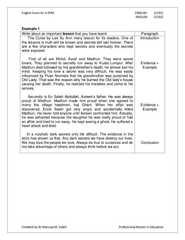 spm english essay paper 1 When we plan to write a narrative essay for the coming spm examination , english paper 1, section b: continuous writing, we have to bear in mind of making.