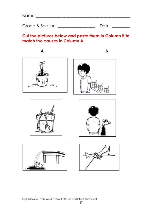 math worksheet : k to 12 grade 1 learning material in english q3 q4  : Cause And Effect Kindergarten Worksheets