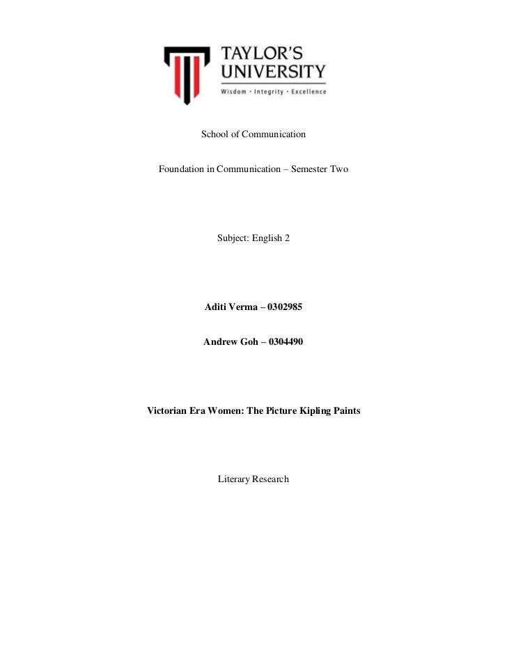 School of Communication  Foundation in Communication – Semester Two               Subject: English 2            Aditi Verm...