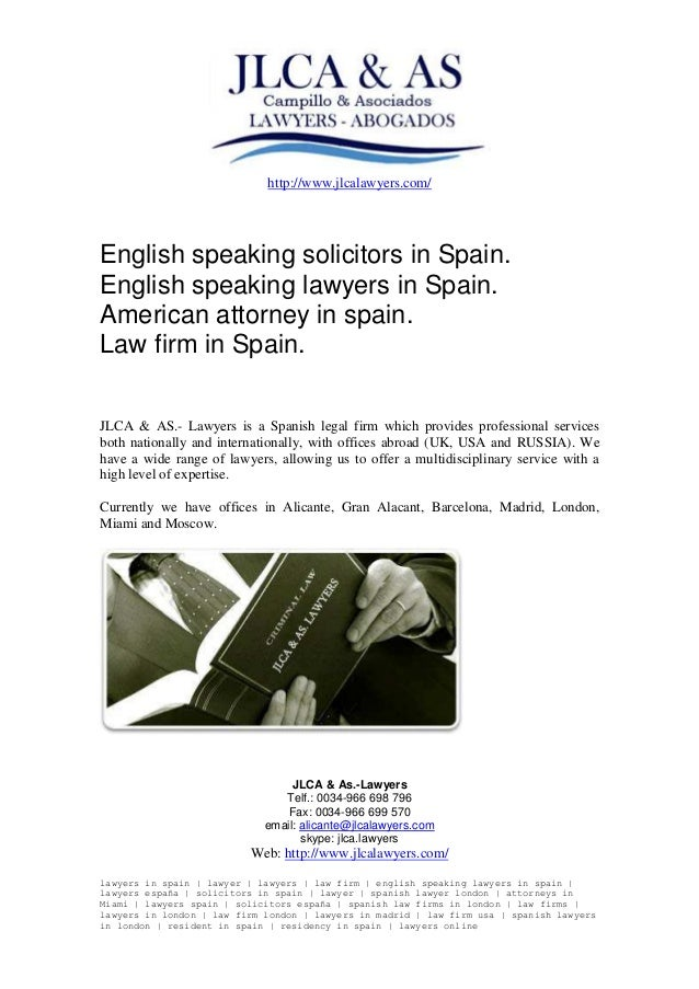 English speaking solicitors in Spain