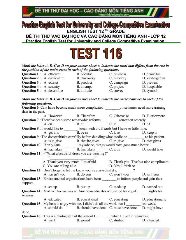 Đề thi thử  Ôn thi Tiếng Anh vào Cao Đẳng , Đại học năm 2013 - Đề 116