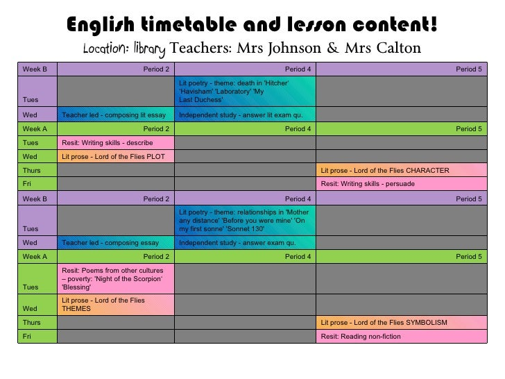 English timetable and lesson content! Location: library   Teachers: Mrs Johnson & Mrs Calton Week B Period 2 Period 4 Peri...