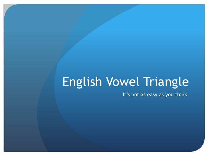 English Vowel Triangle          It's not as easy as you think.