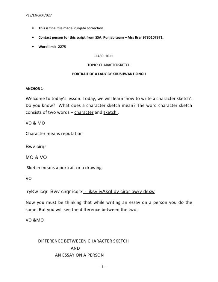 PES/ENG/XI/027        •   This is final file made Punjabi correction.       •   Contact person for this script from SSA, P...