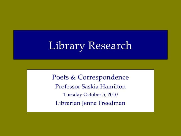 Poets & Correspondence library research guide