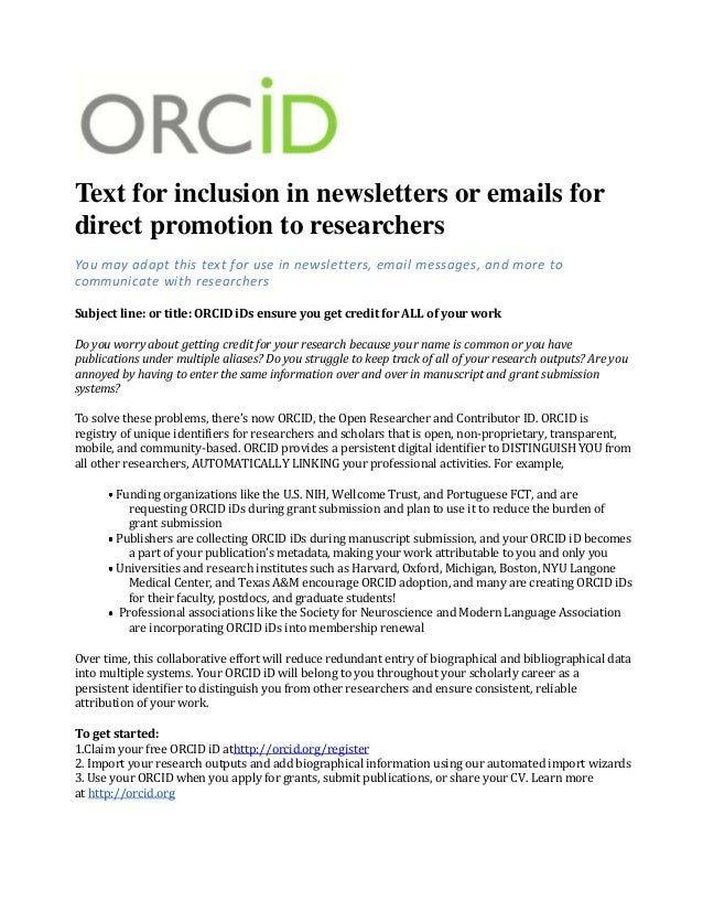 Newsletter text about ORCID