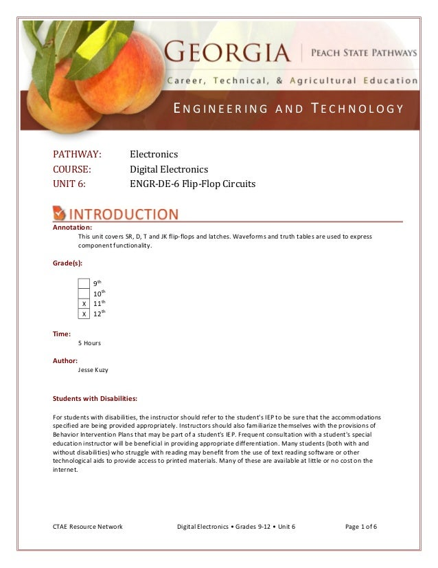 ENGINEERING AND TECHNOLOGY PATHWAY: COURSE: UNIT 6:  Electronics Digital Electronics ENGR-DE-6 Flip-Flop Circuits  Annotat...