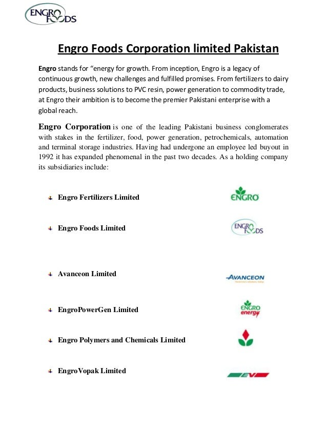 """Engro Foods Corporation limited PakistanEngro stands for """"energy for growth. From inception, Engro is a legacy ofcontinuou..."""