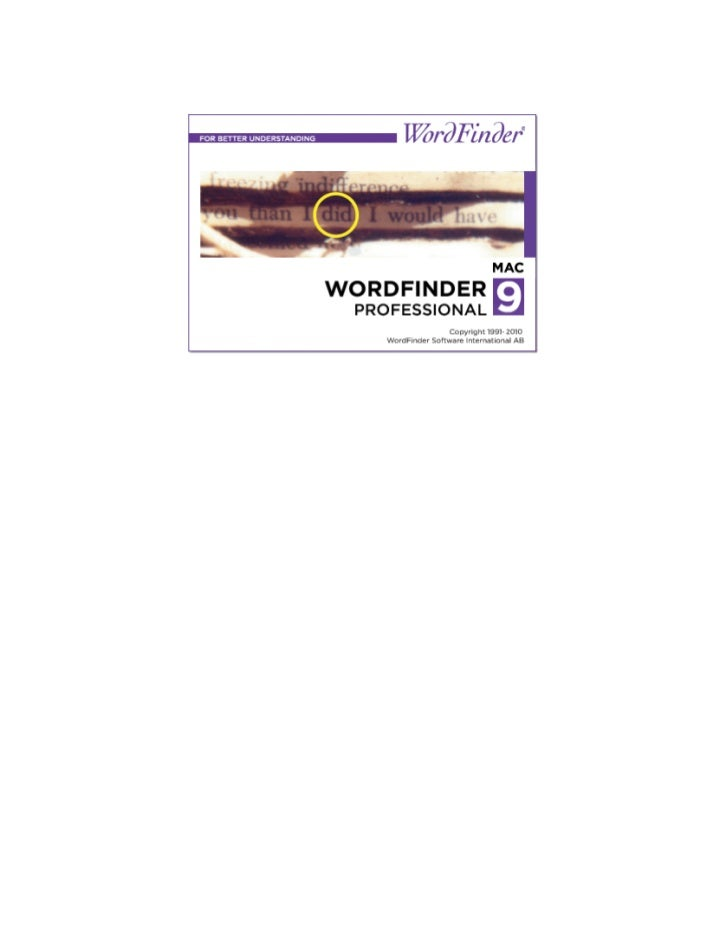 Manual for WordFinder 9 Professional, Mac