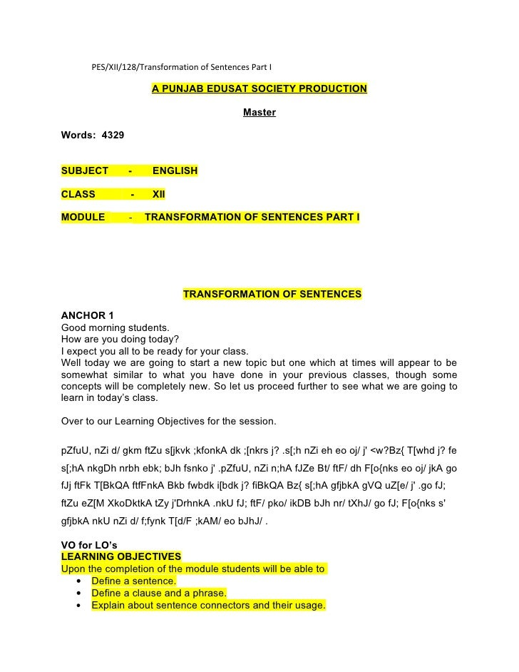 PES/XII/128/Transformation of Sentences Part I                        A PUNJAB EDUSAT SOCIETY PRODUCTION                  ...