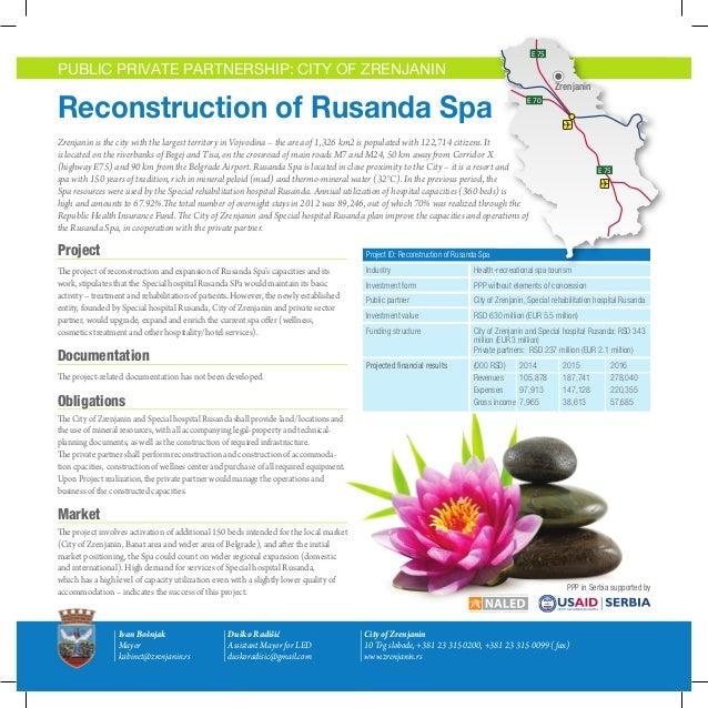 E 75  E 75  E 75  PUBLIC PRIVATE PARTNERSHIP: CITY OF ZRENJANIN  Reconstruction of Rusanda Spa E 70  E 70  Zrenjanin E 70 ...