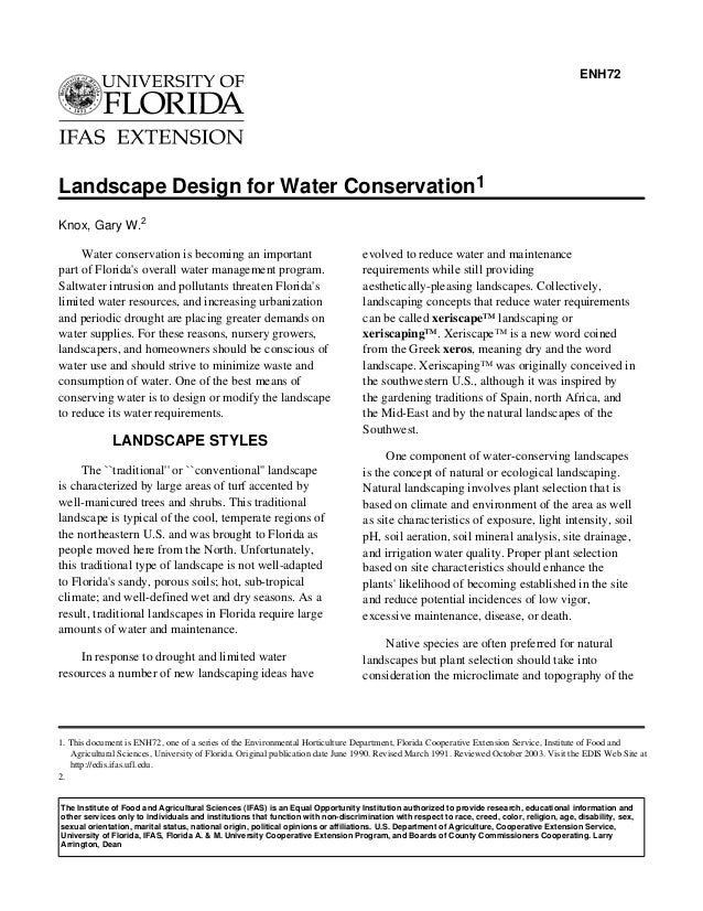 ENH72Landscape Design for Water Conservation1Knox, Gary W.2     Water conservation is becoming an important               ...