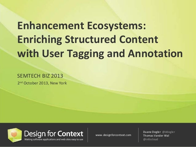 www.designforcontext.com Duane Degler @ddegler Thomas Vander Wal @infocloud Enhancement Ecosystems: Enriching Structured C...