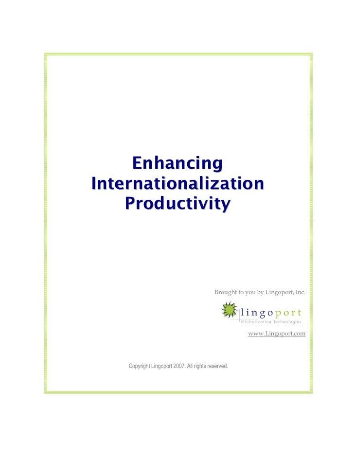 Enhancing Internationalization Productivity: I18n Tools Support Software Localization