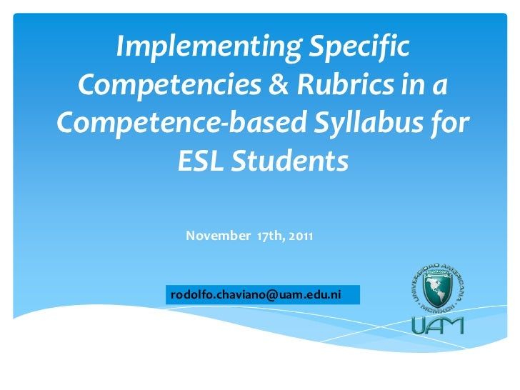 Enhancing a Competence-Based Syllabus 2011