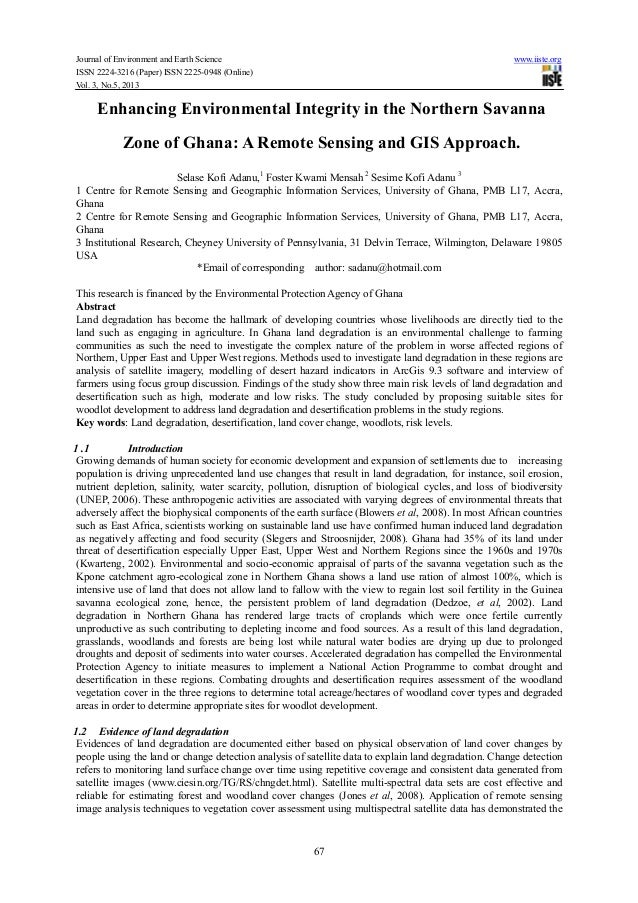 Enhancing environmental integrity in the northern savanna zone of ghana a remote sensing and gis approach