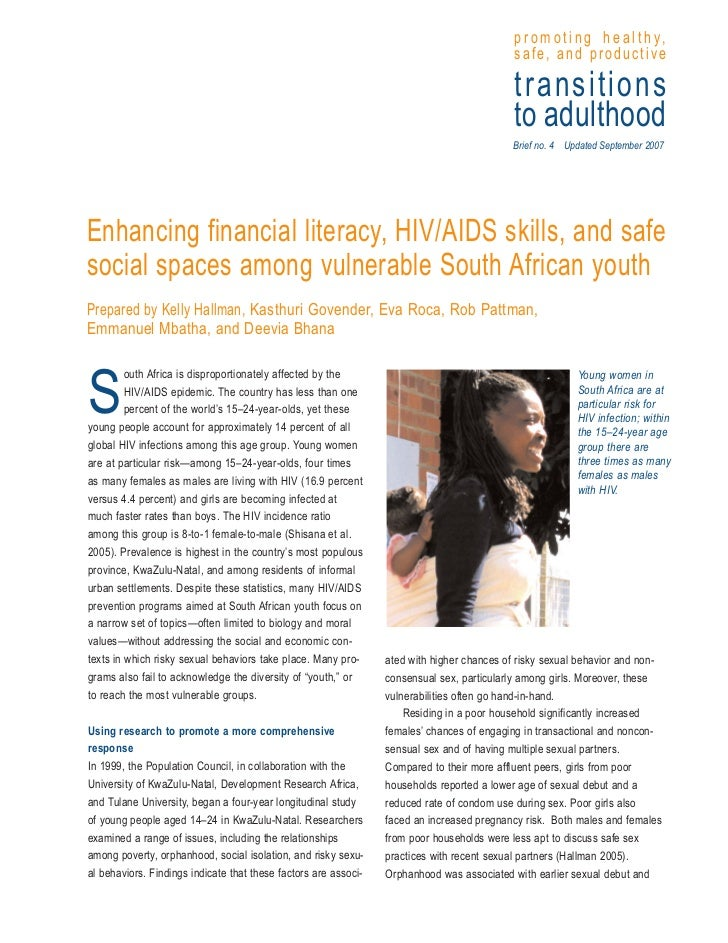 Enhancing financial literacy hiv aids skills and safe social spaces among vulnerable south african youth
