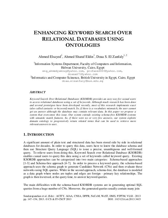 Enhancing keyword search over relational databases using ontologies
