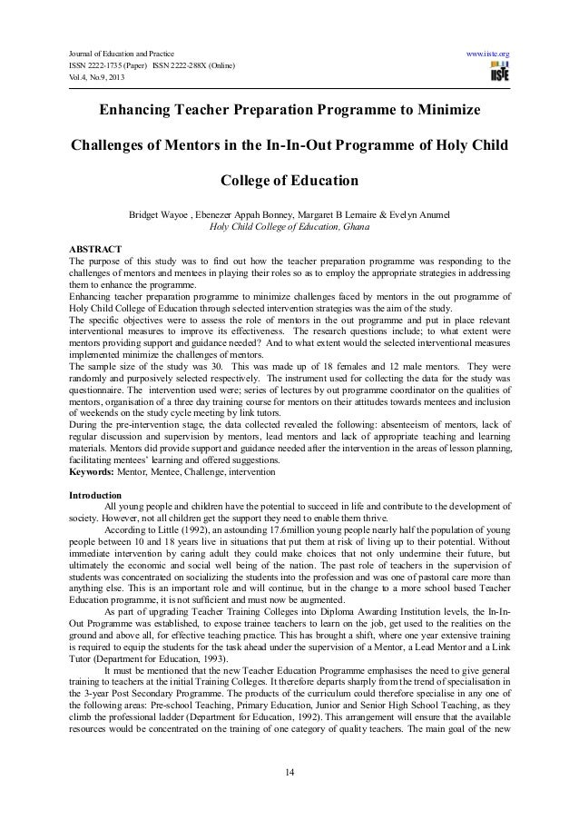 Enhancing teacher preparation programme to minimize challenges of mentors in the in in-out programme of holy child college of education