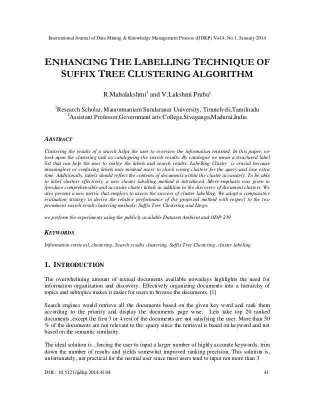 International Journal of Data Mining & Knowledge Management Process (IJDKP) Vol.4, No.1, January 2014  ENHANCING THE LABEL...