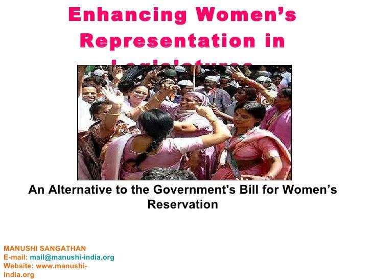Enhancing  Women's  Representation In  Legislatures  August 5