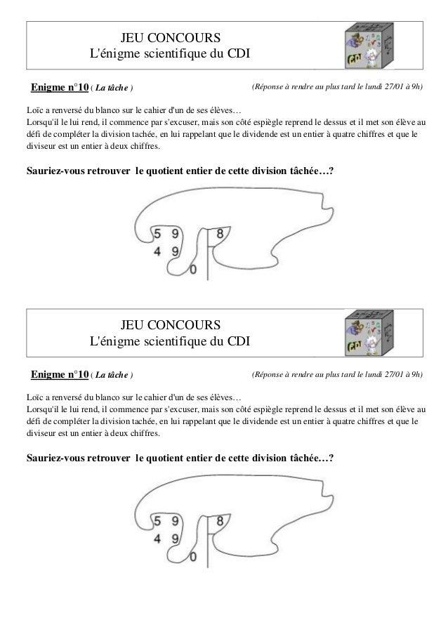 JEU CONCOURS L'énigme scientifique du CDI Enigme n°10 ( La tâche )  (Réponse à rendre au plus tard le lundi 27/01 à 9h)  L...