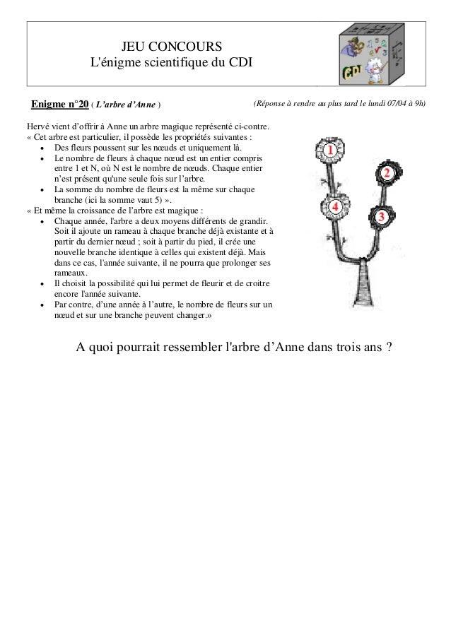 JEU CONCOURS L'énigme scientifique du CDI Enigme n°20 ( L'arbre d'Anne ) (Réponse à rendre au plus tard le lundi 07/04 à 9...