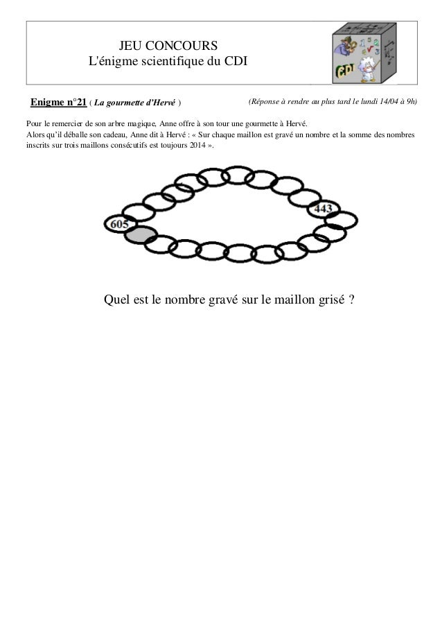 JEU CONCOURS L'énigme scientifique du CDI Enigme n°21 ( La gourmette d'Hervé ) (Réponse à rendre au plus tard le lundi 14/...