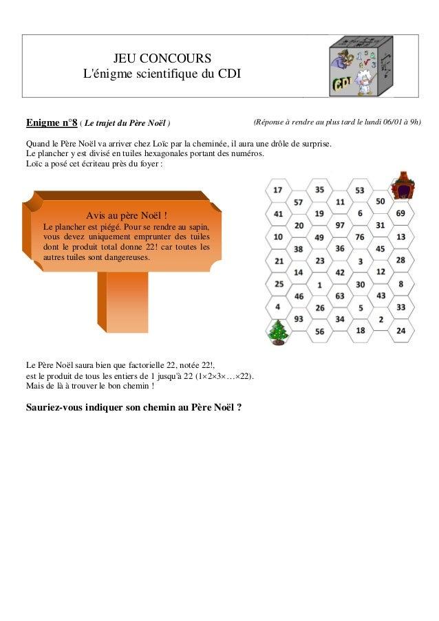 JEU CONCOURS L'énigme scientifique du CDI  Enigme n°8 ( Le trajet du Père Noël )  (Réponse à rendre au plus tard le lundi ...