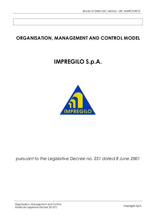 BOARD OF DIRECTORS' MEETING – 26TH MARCH 2012ORGANISATION, MANAGEMENT AND CONTROL MODEL                              IMPRE...