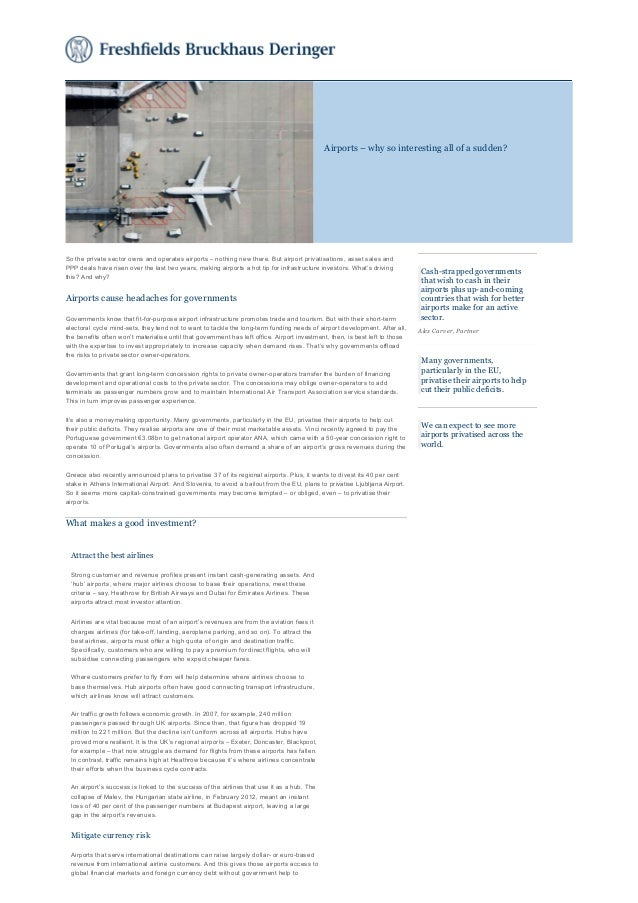 Freshfields analysis of airport privatisations, asset sales and PPP deals