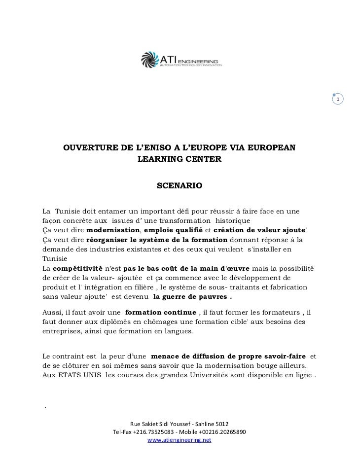 1      OUVERTURE DE L'ENISO A L'EUROPE VIA EUROPEAN                   LEARNING CENTER                                    S...