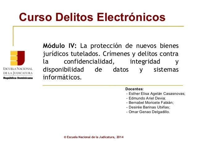 Curso Delitos Electrónicos  Módulo IV: La protección de nuevos bienes  jurídicos tutelados. Crímenes y delitos contra  la ...