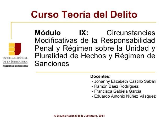Curso Teoría del Delito  Módulo IX: Circunstancias  Modificativas de la Responsabilidad  Penal y Régimen sobre la Unidad y...