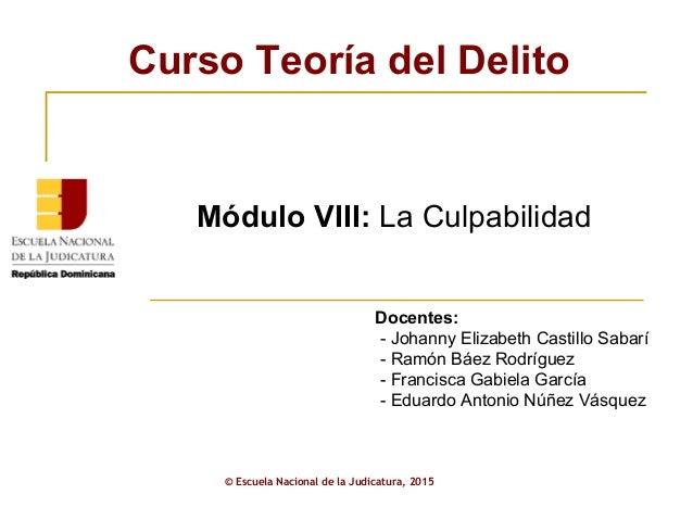 ENJ-2-301: Presentación Módulo VIII Curso Teoría del Delito AJP